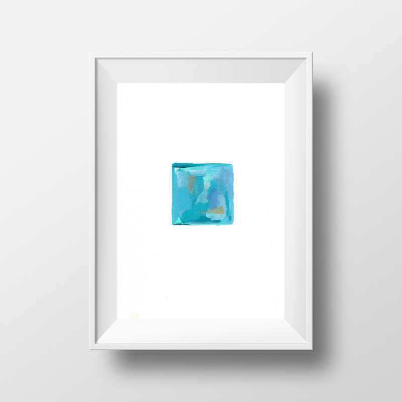 tiny blue abstract painting for sale